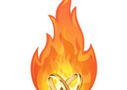 MarriageHeat logo, two linked wedding rings surrounded by orange flame.