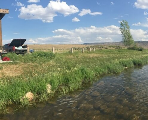 Scene of a picnic shelter and pickup truck with no identifiable markings (emblem, tags, etc.) and a small stream crossing through the foreground.