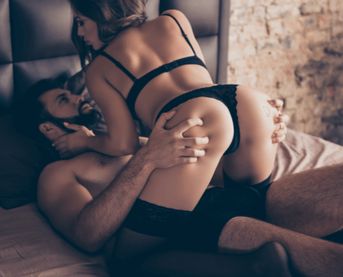 Wife in sexually dominat position atop husband - MarriageHeat
