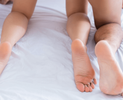 View of husband's and wife's legs from behind ~ MarriageHeat