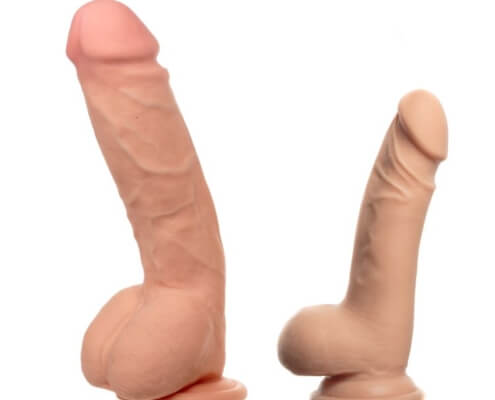 Two dildos showing a big size difference ~ MarriageHeat